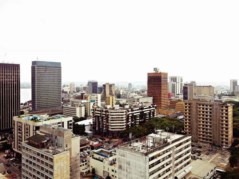 Plateau, vue du 21ème étage de la Tour des Finances, Abidjan, 4 juillet 2013